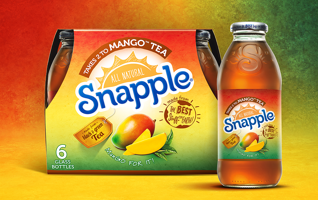 Snapple Mango Tea 6 Pack Bottle Packaging
