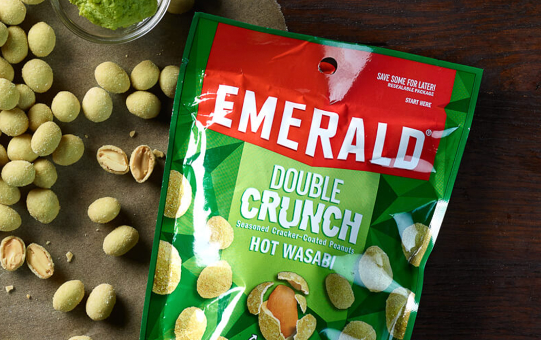 Emerald Double Crunch Wasabi Peanuts Retail Pouch Packaging